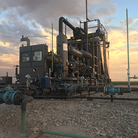 Gas Lift Compressor with West Texas Permian Basin sunset